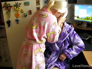 Sexy muscular blond women making love - Two lesbians in kimonos decide to make love