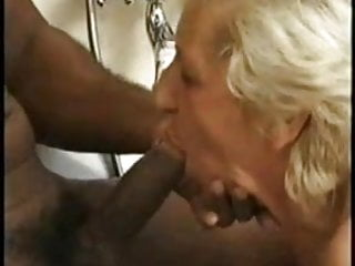 Granny fucks black guy - Granny and black guy in the bath joined by a milf