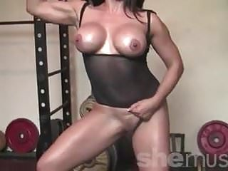 Woman working naked Leena strips naked and works out