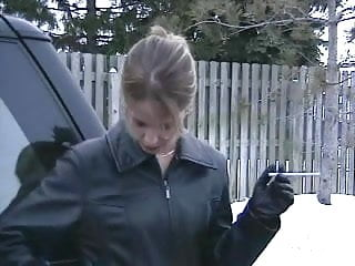 Vintage man smoking jacket Smoking girl in leather jacket and gloves 2