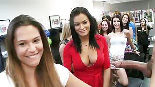 Women Stand In Line To Suck Male Stripper's Cock