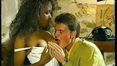 Sexy euro ebony Sabrine vintage DP porn