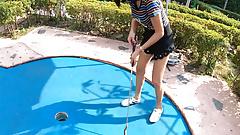 Amateur Thai teen is really bad at minigolf, but good at sex