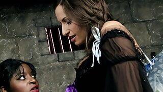 Sexy ebony fairy gets hardcore lesbian threesome with whores