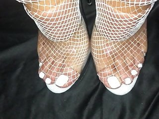 Clear and white vaginal discharge Cum on feet with white toes in white stockings clear heels