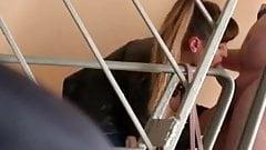 Russian hooker hidden cam blowjob in stairwell