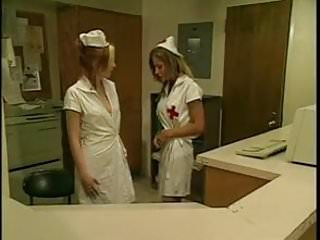 Medical restraint fetish Lesbian nurses seduction in white stocking