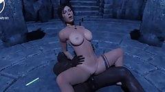 Lara Croft Rides A Big Black Dick