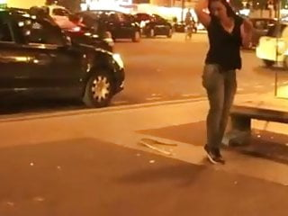 The free voyeur web Slut strips off in the street gives everyone a free show