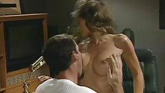 Busty retro pornstar fucked passionately on office table