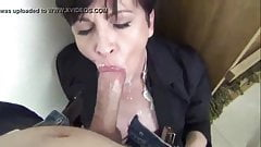 BRUNETTE GETS MORE THAN A MOUTHFUL OF CUM AND SWALLOWS IT
