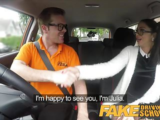Adult learner role - Fake driving school sexy spanish learner sucks big cock