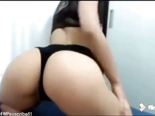 A busty woman working her toy Beautiful and busty woman dancing in front of her webcam