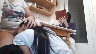 While my girlfriend is reading a book, roommate licks pussy