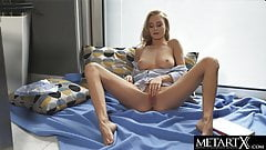 Sexy blonde goes face down ass up as she strokes her pussy