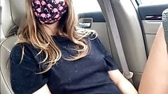 Masked Girl Playing with Her Pussy in the Car