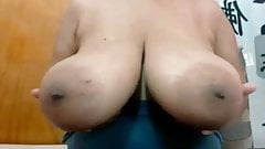 Huge black tits played with