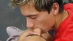 Lakeside twink coupling with a cum-splashed ending