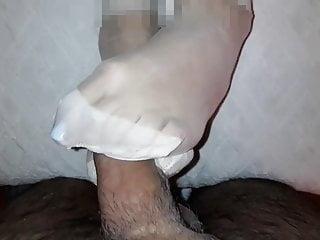 Sperm white mucas - Emmas feet in white nylon and sperm