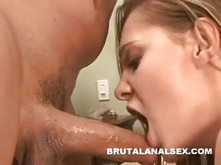 Just her ass Brunette sucking juices off a cock that just fucked her ass