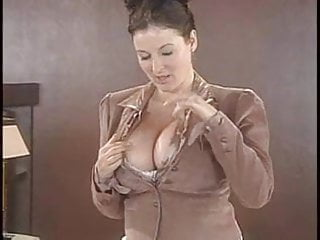 Fastener strip - Lorna morgan strips her lingerie and poses on the desk