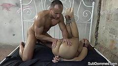 Ballgag european sub whipped during rough sex