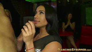 Bachelorettes sucking cocks at a wild CFNM stripper party