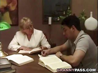 Tube young slut flirt kitchen Granny teacher flirts with her student