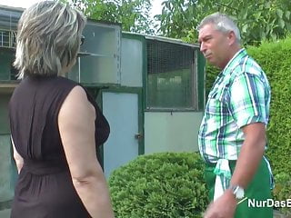 Grandma does grandpa xxx - German grandpa and grandma fuck hard in garden