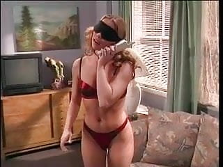Spread leg cunts - Blindfolded blonde spreads on a couch while dude licking and fingering her cunt