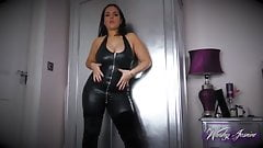 Leather catsuit joi