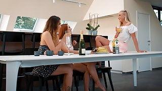 Fun on the table, Vinna Reed, Vanessa Decker and Ornella Morgan