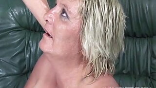 Experienced mature blonde and a hard cock