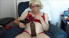 Naughty Gigi with her new cock pump