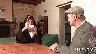 A french nun hard sodomized in threeway