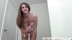 Let me put on my pantyhose before I jerk you off JOI