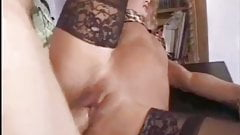 Mature blonde granny in stockings, cougar swallows young cock