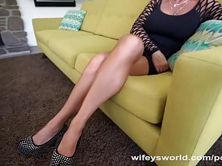 Xxx wifeys world Busty milf gets drilled and swallows jizz