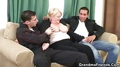 Granny is picked up and double fucked