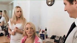 British blonde slut in a FFM threesome at the hairdressers