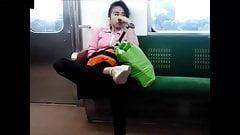 Asian Teen Slut, Public Train Fingering