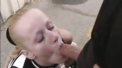 blond gives blowjob with facial