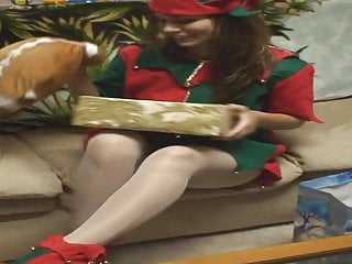 Fave fetish outfits Amanda in elf outfit, white pantyhose