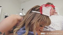 Shemale nurse in fetish uniform Lena Kelly fucked by patient