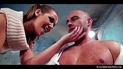 Anouk in total control humiliates and wanks muscular guy