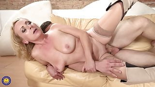 Mature wife and mom seduce strong son