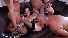 Mature wife takes 3 cocks while cuckold watch