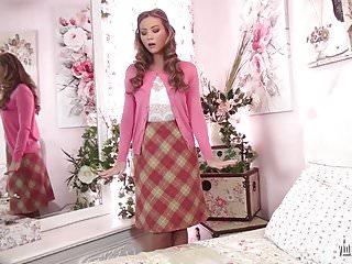 Girl strips off uniform video Sexy school teacher strips off and masturbates in her nylons