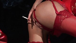 Blondie in red lingerie lights up a smoke before fucking