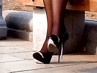 Mature ladies skirts high heels nylons Candid lady in heels in the park